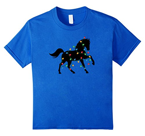 Kids Merry Christmas and New Year Holiday Lights Horse T-Shirt 6 Royal Blue (Shirt New Horse Blue)