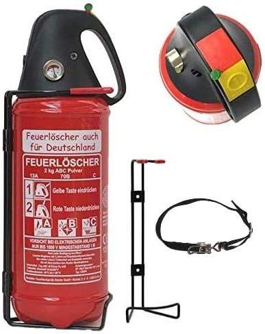 Ohne Pr/üfnachweis u. Jahresmarke 2kg Autofeuerl/öscher Pulverl/öscher Feuerl/öscher mit verstellbarem Spanngurt LKW PKW KFZ DIN EN 3 Manometer Halterung ABC 4LE