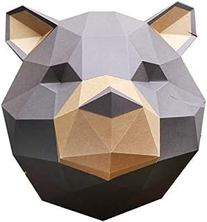 Assembli Kit Trophée Papercraft Ours Grizzly Marron et Kraft à fabriquer