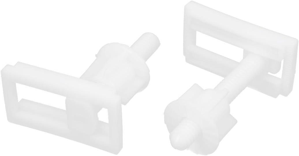 4PCS Rectangular Shaped Toilet Seat Hinge Bolts Nuts Repair Tool White