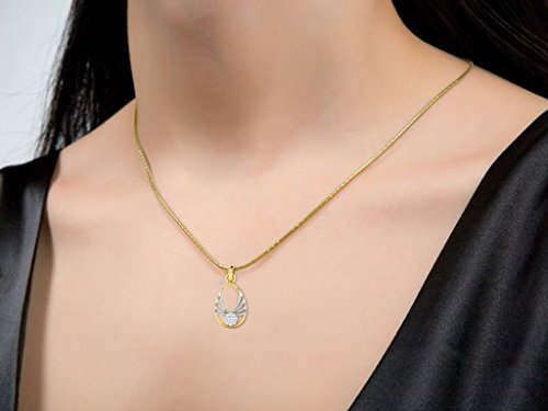 Or Jaune 18 ct Pendentifs Diamant en forme de Ovale, 0.12 Ct Diamant, GH-SI, 1.59 grammes.