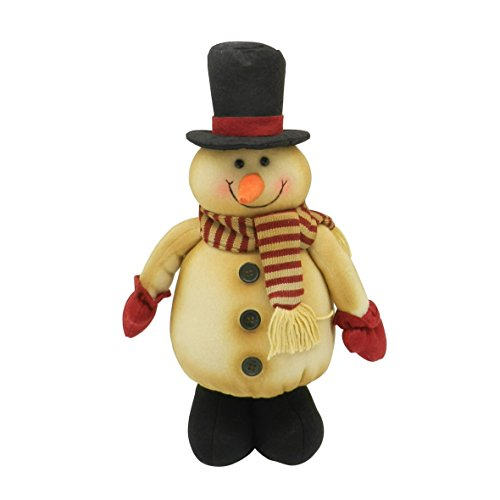(CVHOMEDECO. Country Rustic Standing Plush Snowman Doll with Black Boots and Top Hat Vintage Stuffed Toy Christmas Decoration, 16