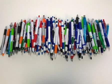 175 Lot Misprint Ink Pens, Ball Point, Plastic, Retractable ()