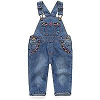 Kidscool Baby & Toddler Girls Flower Decor Big Bib Jeans Overalls