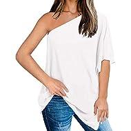 Dainzusyful Tops Women One Off Shoulder Loose Tops Batwing Sleeve Asymmetrical Hem Loose Fit T Shirts Blouses