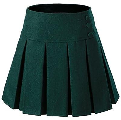 Vocni Women A-Line Wool Blend Lined Pleated Mini Skirt Side Zipper