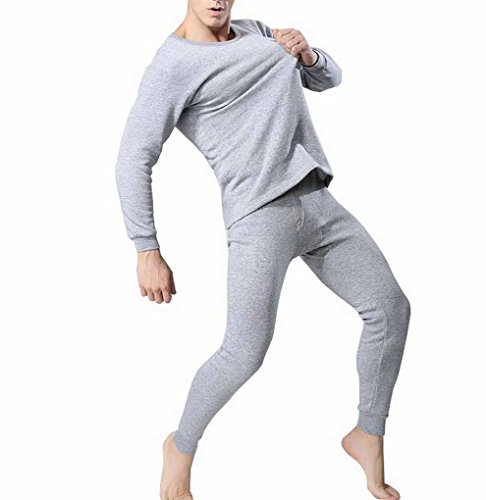 Evedaily - Mens Thermal Underwear Set Long Sleeve Top And...