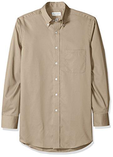 (Van Heusen Regular Fit Twill Solid Button Down Collar Dress Shirt, Sandstone, Small)