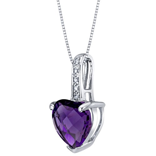 (14K White Gold Genuine Amethyst and Diamond Heart Pendant 1.50 Carats )