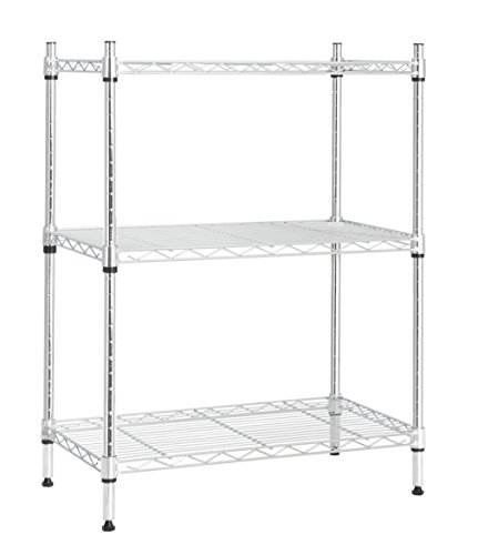 (STORAGE MANIAC Large 3-Tier Shelving Unit, Heavy Duty Storage Rack Utility Shelf with Adjustable Leveling Feet and Industrial Casters, Chrome)
