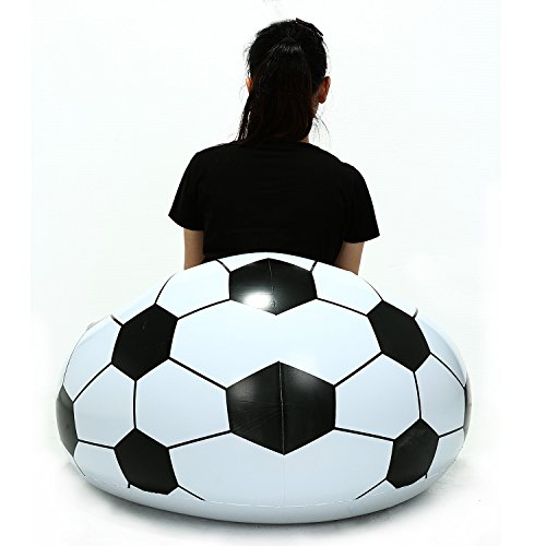 niceEshop(TM) Inflatable Football Sofa Cool Design Bean Bag Eco-friendly Pvc For Adults And Kids,Black+white, Small