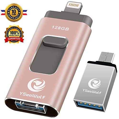 iPhone Flash Drive for iPhone 128GB USB Flash Drive Type c Flash Drive 3.0 YSeaWolf photostick Mobile for iPhone External Storage, Type c, Android, PC iPhone Picture Stick iPhone Memory Stick (Pink)