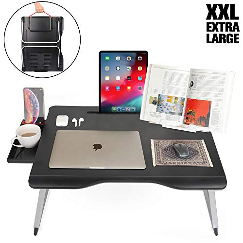 Cooper Mega Table [XXL Folding Laptop Desk] for Bed & Sofa | Couch Table, Bed Desk, Laptop, Writing, Study, Eating Storage, Reading Stand (Black Onyx) (Laptop Table Desk Sofa)
