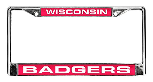 Rico Industries NCAA Wisconsin Badgers Laser Cut Chrome Plate - Badgers License Plate Frame Wisconsin