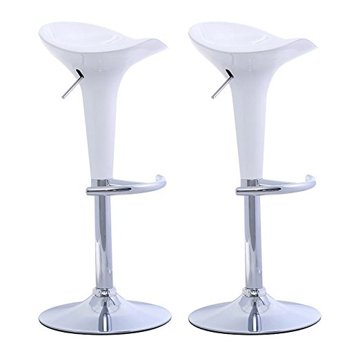 Bombo Bar (Set of 2 Modern Bombo Style Swivel Barstools Adjustable Counter Chair Bar Stools - Stylish Modern Design -0 Steel And Heavy Duty ABS Plastic Construction - Swivels 360 Degrees - Chrome Base (White))