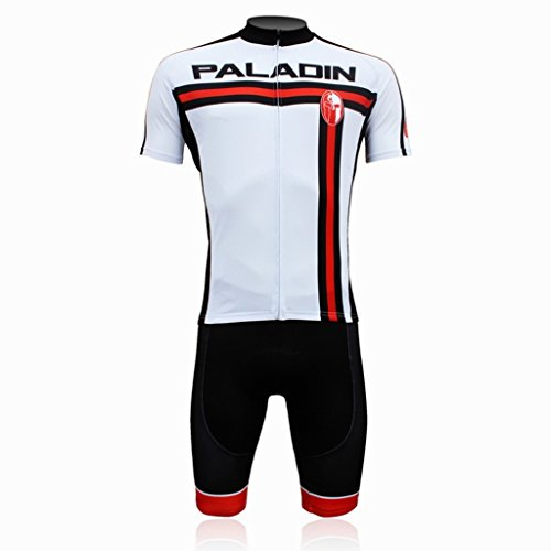 PaladinSport Men's Red and Black Stripes Style Short Sleeve Cycling Jersey Set Size (Sobike Cycling Fleece)