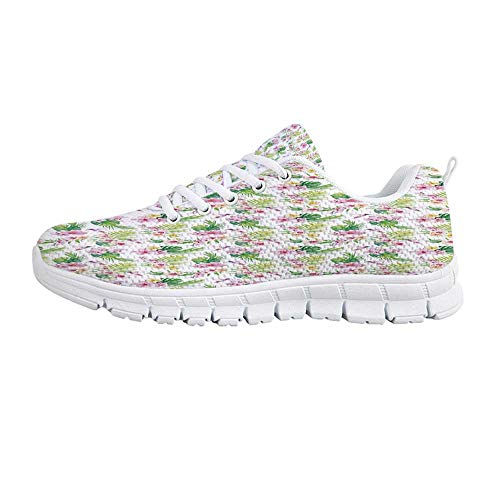 YOLIYANA Luau Lightweight Walking Shoes,Hawaiian Flower Branches with Exotic Giant Leaves and Birds Botany Print Sneakers for Girls Womens,US Size 7