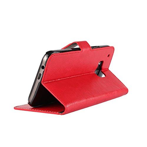M9 Funda,COOLKE Retro PU Leather Wallet With Card Pouch Stand de protección Funda Carcasa Cuero Tapa Case Cover para HTC One M9 - Rosa Rojo