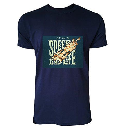SINUS ART® Biker Motiv Speed Is My Life Herren T-Shirts in Navy Blau Fun Shirt mit tollen Aufdruck