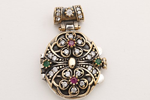 Secret! Turkish Handmade Jewelry Oval Ruby Emerald Topaz 925 Sterling Silver Locket Pendant