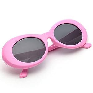 ZLTFashion Bold Retro Oval Prank Sunglasses Decoration Men Women Clout Goggles Cute Cool Creative Gadget (Rose Gray)