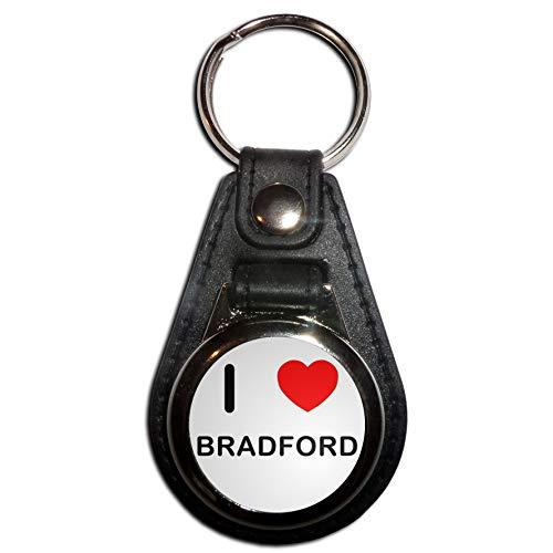 I Love Bradford - Black Plastic Medallion Key Ring
