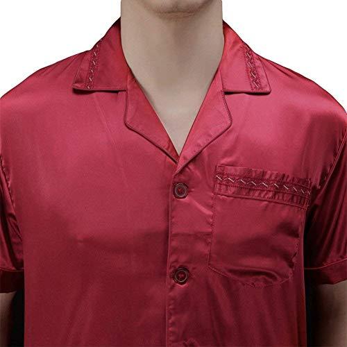 La Seta Rot Solido Pantaloni Di Ha Giovane Simulazione Lunghi L'uomo Fissato Colore Pigiama Uno Allentata Elegante I Maglietta Confortevole fqRAUgn8