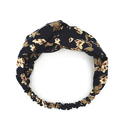 - Olici Ladies Fashion Headband Small and Fresh Leaf Printed Broad Border with Intermediate Crossover Bands Wild Flowers Small Broken Flowers Cloth Art Band Tibetan Youth