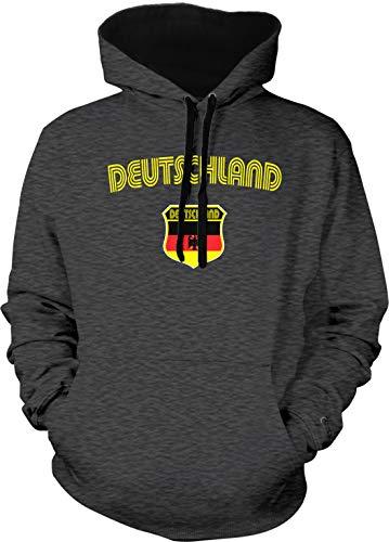 Amdesco Men's Germany German Flag Crest Deutschland Two Tone Hoodie, Charcoal/Black Large