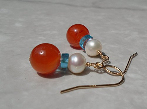 Pearl Earrings, Carnelian Earrings, Freshwater Pearl Earrings, Apatite Earrings, Short Earrings, Dangling Earrings 5 mm ()
