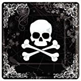 18 10 In. Square Skull and Bones Halloween Paper Plate
