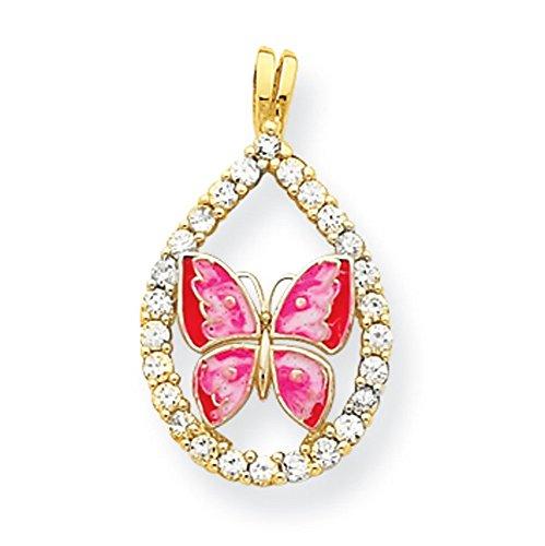 10 k, émail et zircones cubiques Papillon pendentif en forme de goutte de qualité supérieure-Or Or 9 Carats JewelryWeb