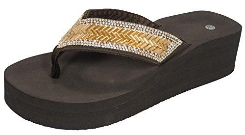 en's Crystal Rhinestone Comfort Foam Wedge Flip Flop (7.5 B(M) US, Brown) (Eva Foam Flip Flops)