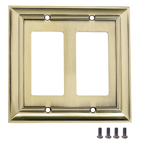 AmazonBasics Double Gang Light Switch Wall Plate, Antique Brass, Set of 2