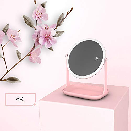 Hot Sale!DEESEE(TM)LED Tourch Screen Makeup Vanity Mirror with Light Dimmer Stage Beauty Mirror USB (Pink) -