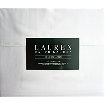 Lauren Ralph Lauren King Size Dunham Sateen 4 Piece Sheet Set 100% Cotton - White