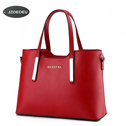 Women's PU Leather Shoulder Bags Top-Handle Handbag Tote Bag Simple Purse Fashion (Cream Handbag Purse)