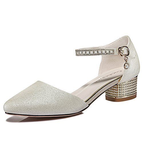 Sandals Mid Shoes Ankle Women's Toe Block Dress Evening Party Rhinestone Heel Low Sandals Pointed For Strap Silver q8SIT