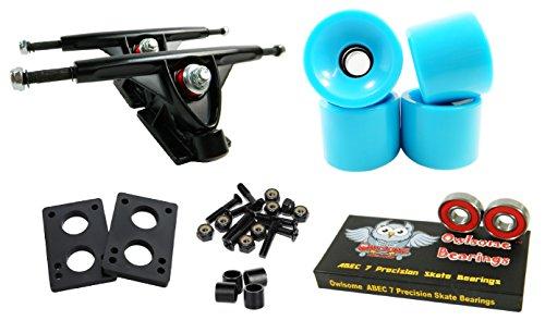 Longboard 180mm Trucks Combo w/70mm Wheels + Owlsome ABEC 7 Bearings (Solid Baby Blue)