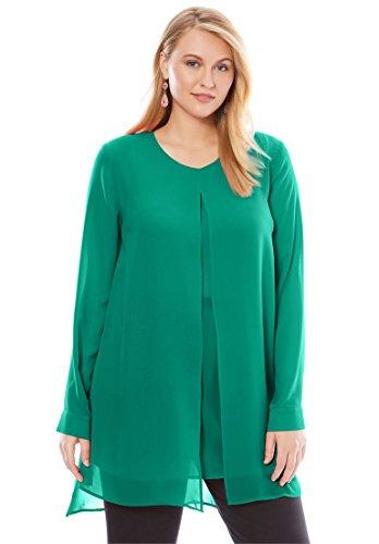 Jessica London Women's Plus Size Flyaway V-Neck Tunic Green Jade,18 W Side Slit Georgette