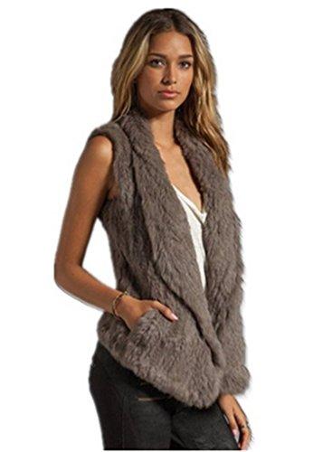 - YR Lover Women's Winter Warm Genuine Rabbit Fur Vest Gilet