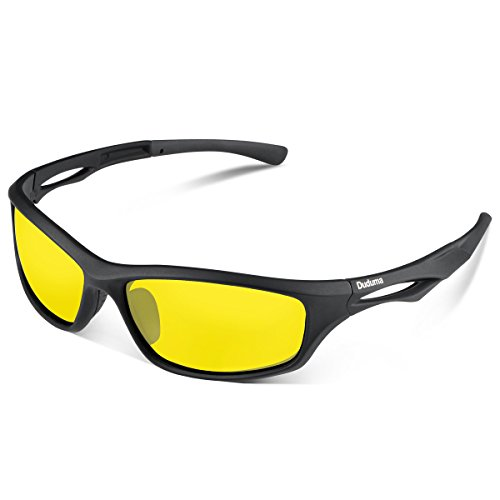 Duduma Polarized Sports Sunglasses for Running Cycling Fishing Golf Tr90 Unbreakable Frame (black matte frame with yellow lens)