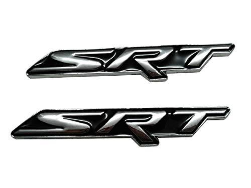 Deselen SRT Emblem for Dodge Charger Durango Jeep, Logo Sticker Decal for Car Side and Back, Black(Pair)