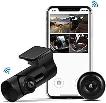 Yakola Y6 WiFi Dash Cam, Mini Car Camera, 360 Fisheye Panoramic Lens, 230 wide view angle, 1080P HD Dash Camera,24H Parking Monitor, Dashboard Camera Recorder,G-Sensor Loop Recording,HDR