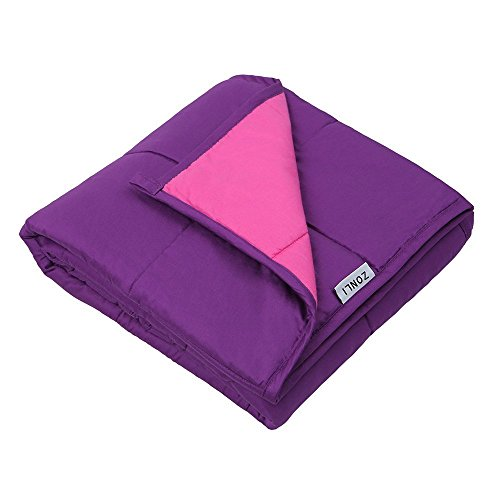 ZonLi Sensory Weighted Cool Blanket (5lbs for 30-70 lbs individual, 36''x48'', Pink/Purple) for Youths, Girls and Boys | Great for Insomnia, Autism, ADHD, Stress Relief | Fit Twin or Full Sized Bed