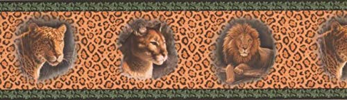 (HB2002B Lion Jaguar Pictures on Leopard Print Wall Wallpaper Border 7