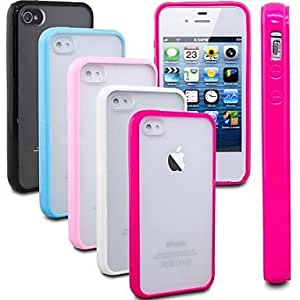 TOPAA Frosted Back TPU Bumper Case for iPhone 4/4S (Assorted Colors) , Black