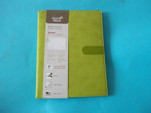 """Quo Vadis December 2013-December 2014 Trinote Weekly Planner One Week on Two Pages 6 1/4"""" x 9 3/8"""" Bamboo + Address Book Made in USA"""