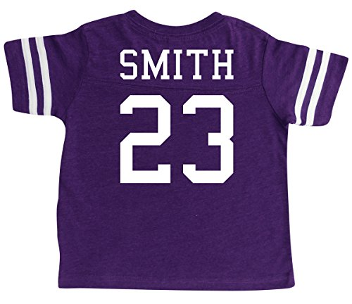 Personalized Football Shirt - Custom Football Sport Jersey Toddler & Child Personalized with Name and Number (4T, Vintage Purple)