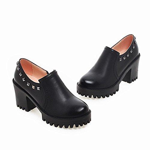 Latasa Womens Studded Block High Heels Slip On Shoes Black bdoqfL0Fkl